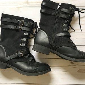 Soda Combat Boots Lace Up Zipper Bootie